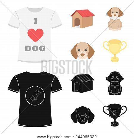 Dog House, Protective Collar, Dog Muzzle, Cup. Dog Set Collection Icons In Cartoon, Black Style Vect