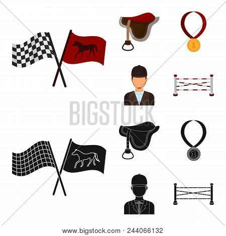 Saddle, Medal, Champion, Winner .hippodrome And Horse Set Collection Icons In Cartoon, Black Style V
