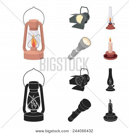 Searchlight, Kerosene Lamp, Candle, Flashlight.light Source Set Collection Icons In Cartoon, Black S