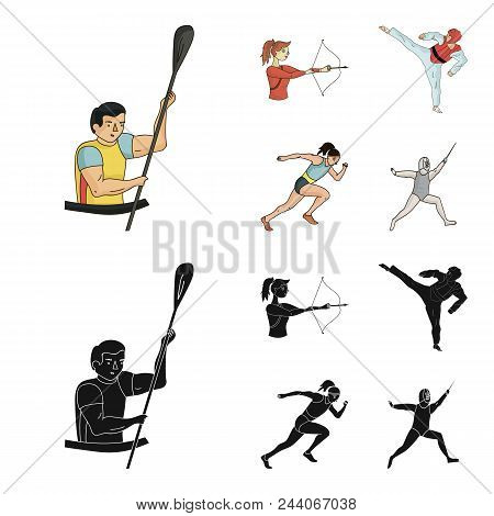 Archery, Karate, Running, Fencing. Olympic Sport Set Collection Icons In Cartoon, Black Style Vector