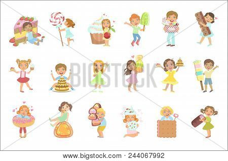 Kids And Giant Sweets Set Of Simple Design Illustrations In Cute Fun Cartoon Style Isolated On White