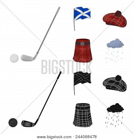 Flag, Kilt, Rainy Weather, Cap.scotland Country Set Collection Icons In Cartoon, Black Style Vector