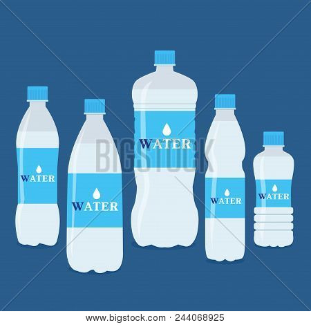 Vector Bottles Of Pure Water. Different Sized Bottles