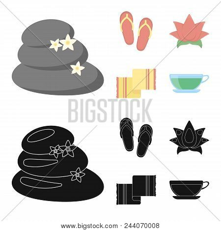 Flip-flops For The Pool, Lotus Flower With Petals, Yellow Towel With Fringe, Cup With Tea, Drink. Sp
