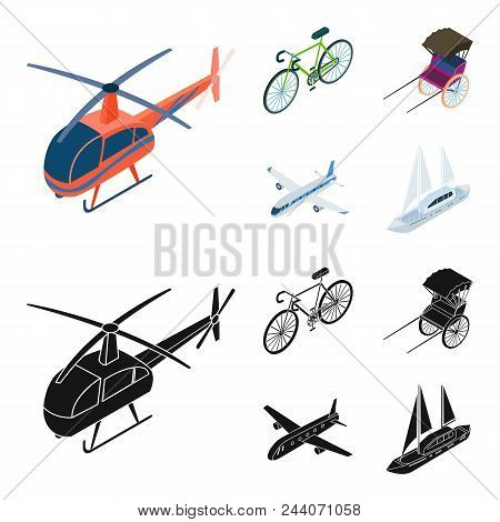 Bicycle, Rickshaw, Plane, Yacht.transport Set Collection Icons In Cartoon, Black Style Vector Symbol