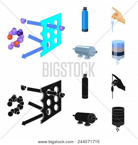 Purification, Water, Filter, Filtration .water Filtration System Set Collection Icons In Cartoon, Bl