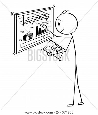 Cartoon Stick Man Drawing Conceptual Illustration Of Businessman Working With Charts On Computer Scr