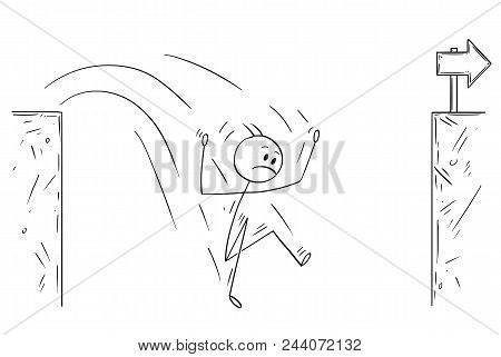 Cartoon Stick Man Drawing Conceptual Illustration Of Unsuccessful Businessman Falling In To Chasm.bu