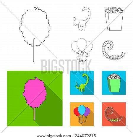 Sweet Cotton Wool On A Stick, A Toy Dragon, Popcorn In A Box, Colorful Balloons On A String. Amuseme