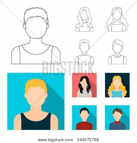 Girl With Long Hair, Blond, Curly, Gray-haired Man.avatar Set Collection Icons In Outline, Flat Styl