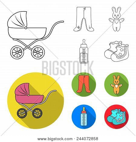 Stroller, Bottle With A Pacifier, Toy, Sliders.baby Born Set Collection Icons In Outline, Flat Style
