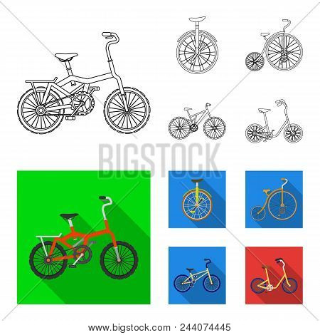 Retro, Unicycle And Other Kinds.different Bicycles Set Collection Icons In Outline, Flat Style Vecto