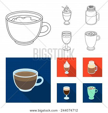 Esprecco, Glase, Milk Shake, Bicerin.different Types Of Coffee Set Collection Icons In Outline, Flat
