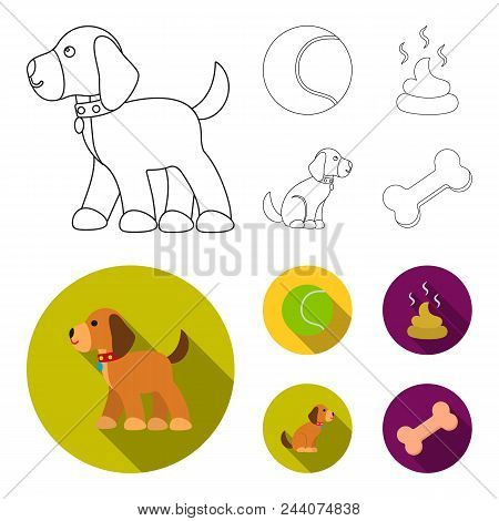 Dog Sitting, Dog Standing, Tennis Ball, Feces. Dog Set Collection Icons In Outline, Flat Style Vecto