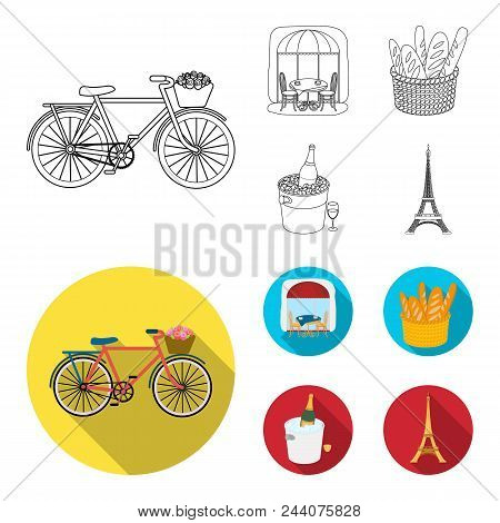 Bicycle, Transport, Vehicle, Cafe .france Country Set Collection Icons In Outline, Flat Style Vector