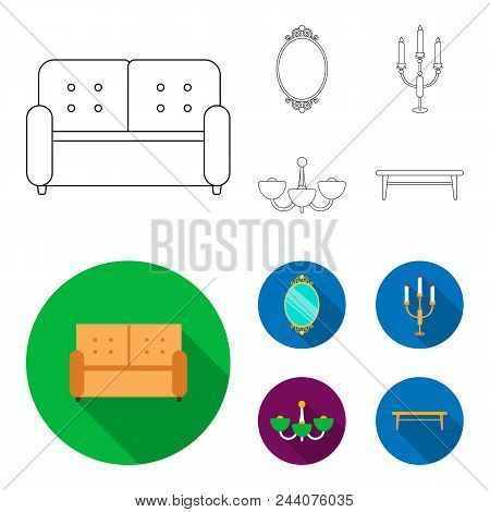 Sofa, Mirror, Candlestick, Chandelier.furniturefurniture Set Collection Icons In Outline, Flat Style