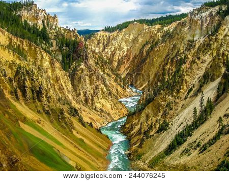 Lower Falls, Most Popular Waterfall In Yellowstone, Are Located In Head Of The Grand Canyon In Yello