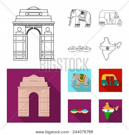 Country India Outline, Flat Icons In Set Collection For Design.india And Landmark Vector Symbol Stoc