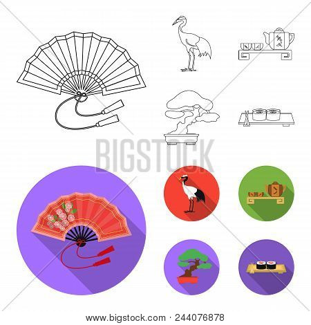 Fan, Red Crown Crane, Tea Ceremony, Bonsai.japan Set Collection Icons In Outline, Flat Style Vector