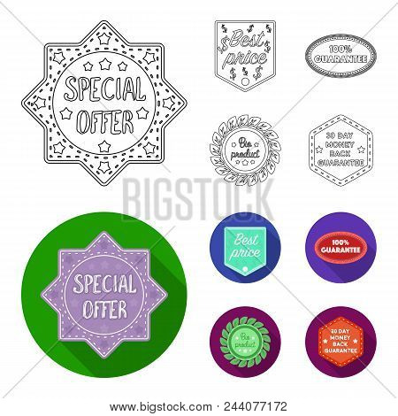 Special Offer, Best Prise, Guarantee, Bio Product.label, Set Collection Icons In Outline, Flat Style