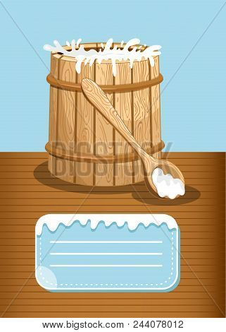 Dairy Products Advertising With Milk Wooden Barrel. Natural Organic Dairy Product, Fresh And Healthy