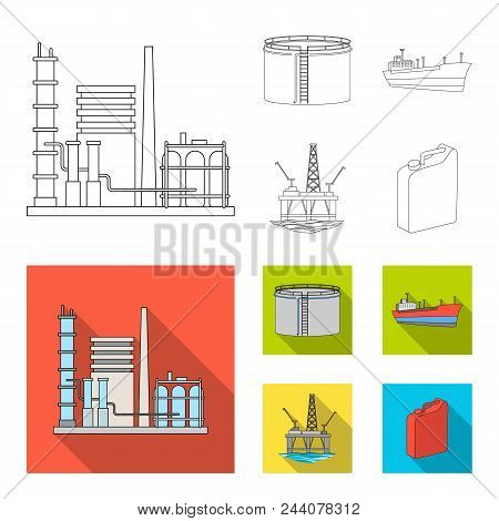 Oil Refinery, Tank, Tanker, Tower. Oil Set Collection Icons In Outline, Flat Style Vector Symbol Sto