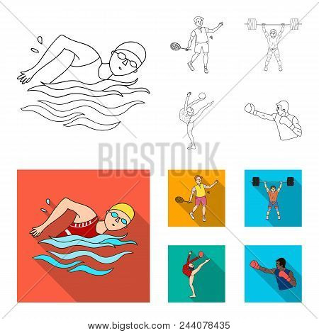 Swimming, Badminton, Weightlifting, Artistic Gymnastics. Olympic Sport Set Collection Icons In Outli