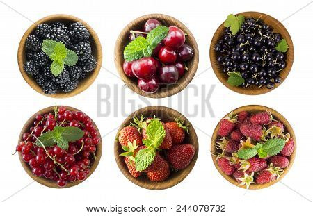 Black And Red Berries Isolated On White. Blackberries, Raspberries, Cherries, Red And Black Currants