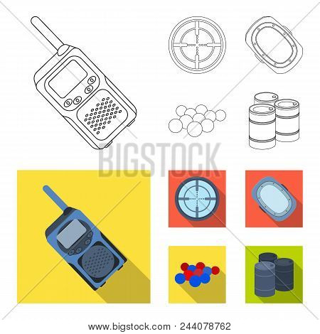 Balls With Paint And Other Equipment. Paintball Single Icon In Outline, Flat Style Vector Symbol Sto