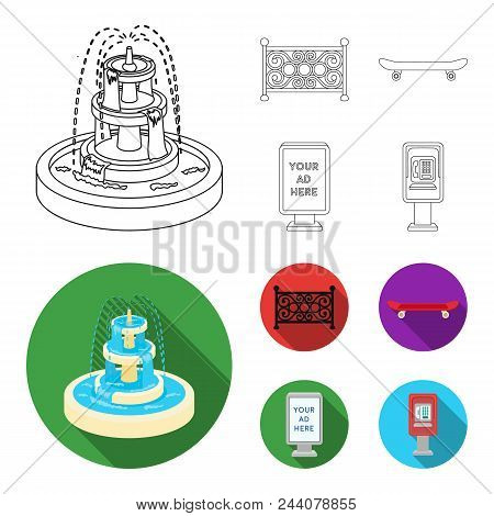 Fountain, Fence, Skate, Billboard.park Set Collection Icons In Outline, Flat Style Vector Symbol Sto
