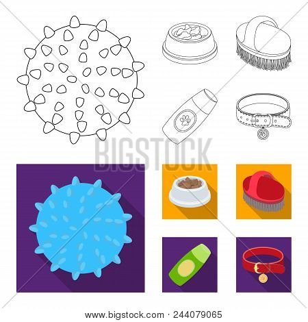 The Ball, Feed, Shampoo And Other Zoo Store Products. Pet Shop Set Collection Icons In Outline, Flat