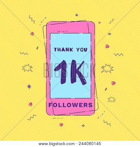 1k Followers Thank You Message With Phone And Random Items. Template For Social Media Post. Glitch C