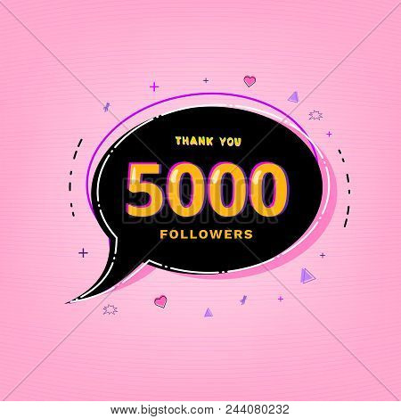 5000 Followers Thank You Vivid Card With Speech Bubble. Template For Social Media Post. Glitch Chrom