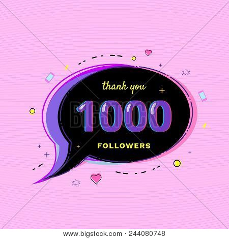 1000 Followers Thank You Message With Speech Bubble And Random Items. Template For Social Media Post