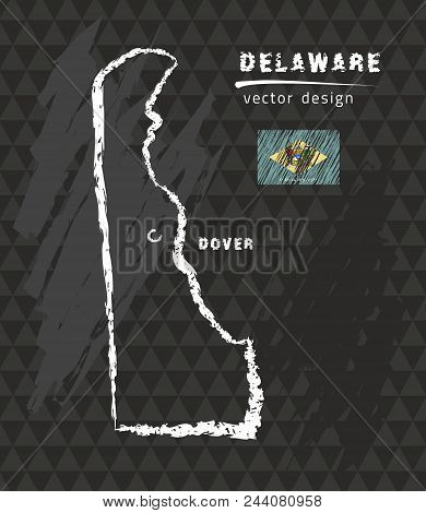 Delaware Map, Vector Pen Drawing On Black Background