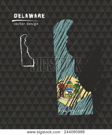 Delaware National Vector Map With Sketch Chalk Flag. Sketch Chalk Hand Drawn Illustration