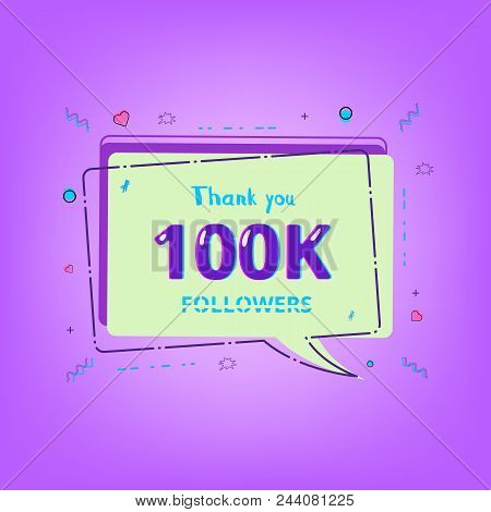 100k Followers Thank You Phrase With Random Items. Template For Social Media Post. Glitch Chromatic