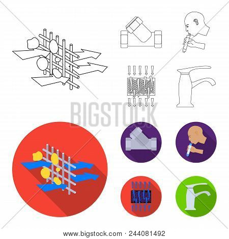 System, Balloon, Hand, Trial .water Filtration System Set Collection Icons In Outline, Flat Style Ve