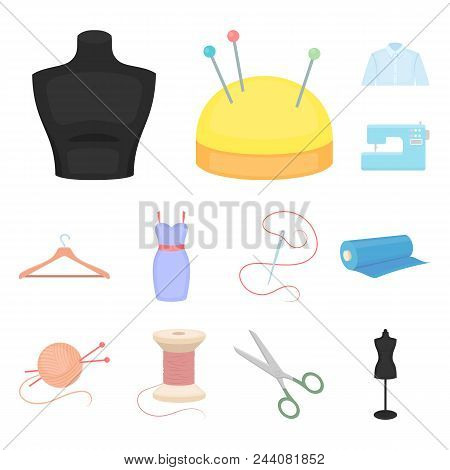 Atelier And Sewing Cartoon Icons In Set Collection For Design. Equipment And Tools For Sewing Vector