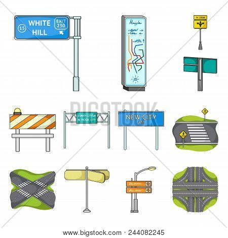 Road Junctions And Signs Cartoon Icons In Set Collection For Design.pedestrian Crossings And Signs V