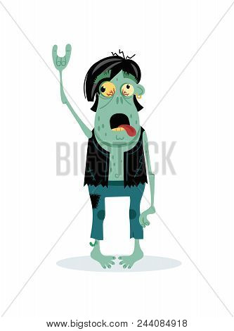 Punk Rocker Zombie Character In Cartoon Style. Halloween Zombie Horror Fantasy Element, Undead Monst