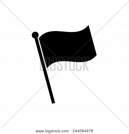 Flag Icon In Flat Style. Flag Symbol Isolated On White Background. Simple Flag Abstract Icon In Blac