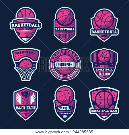 Basketball League Isolated Label Set. Basketball Tournament Sign, College Championship Symbol, Sport