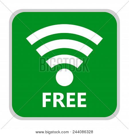 Green Wifi Icon In Flat Style, Isolated On A White Background. Symbol Of The Wifi Symbol For Your We