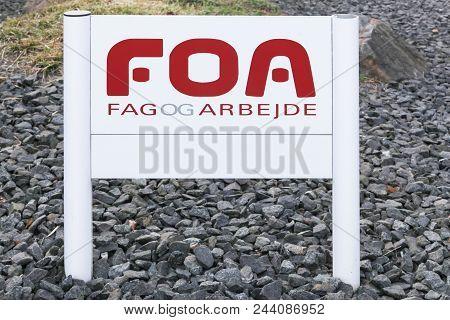 Middelfart, Denmark - April 21, 2018: Foa Logo On A Panel. Foa Is The Danish Union Of Public Employe