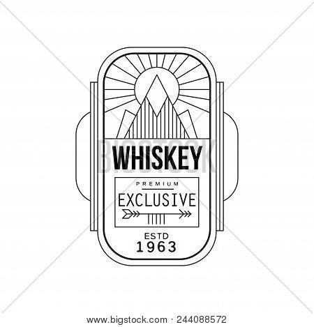 Whiskey Vintage Label Design, Premium Exclusive Strong Drink Badge Estd 1963, Alcohol Industry Monoc