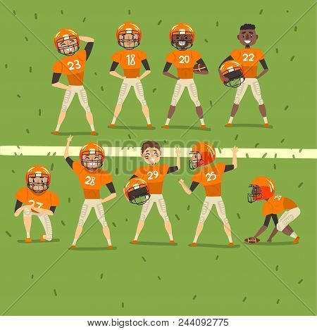 Professional American Football Team Players In Field Vector Illustration, Web Design