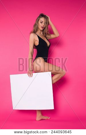 Style Is Eternal! Full Length Picture Of The Young Stylish Well-graced Girl Posing On The Isolated P
