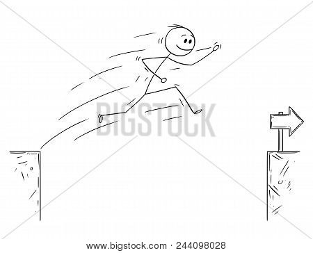 Cartoon Stick Man Drawing Conceptual Illustration Of Businessman Jumping Over The Chasm. Business Co