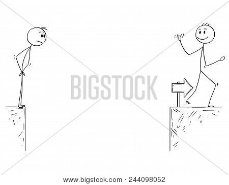 Cartoon Stick Man Drawing Conceptual Illustration Of Businessman Standing On Edge Of Chasm And Looki